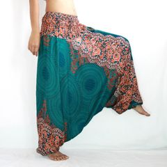 B14 Mandalas Women Low Cut Jumpsuit Harem Pants in Turquoise
