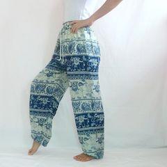 F23 Chang Yai Women Elephant Teal Blue Yoga Pants