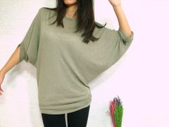 E07 Edgy Occasion Light Sage Green Gray Women Blouse Dolman Sleeves