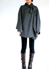 D08 Wonder Spring Fall Women Gray Cloak Coat Layered Cape Coat