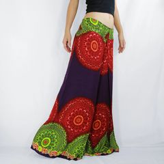 E10 Purple Mandalas Women Comfy Wide Leg Pants