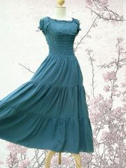 D19 Sweet Summer I Romantic Party Grayish Cadet Blue Peasant Maxi Dress