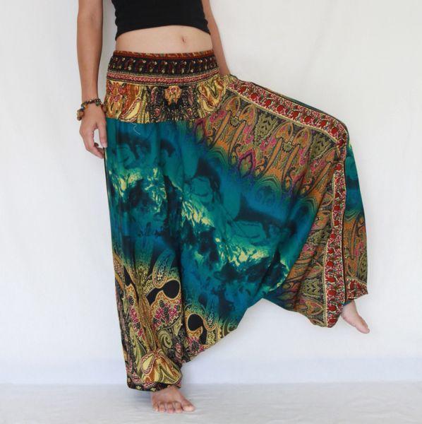 6760e43335b A22 The Gypsy Green Turquoise Tie Dye Low Cut Jumpsuit Women Harem Pants