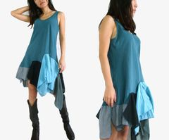 F18 Summer Flirt Festival Blue Boho Pixie Babydoll Short Dress Summer Tunic