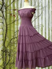 C03 Sweet Summer II Lavender Purple Women Romantic Cotton Maxi Dress