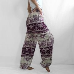 H20 Chang Yai Women Elephant Burgundy Purple Yoga Pants