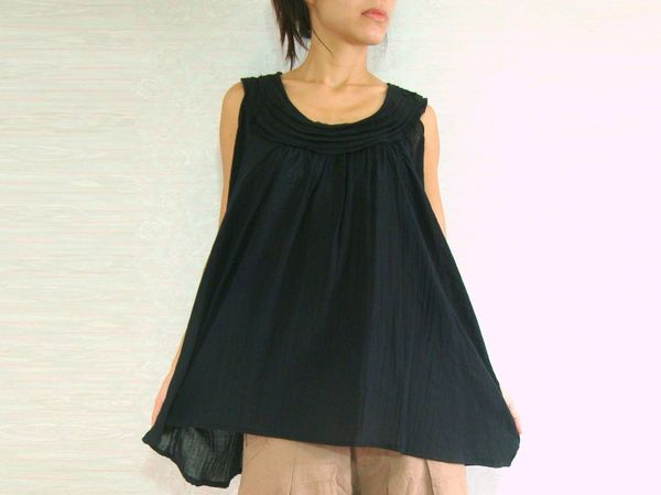 0f13cb4bcd4a Women Summer Black Sleeveless Maternity Blouse Cotton Voile Top ...
