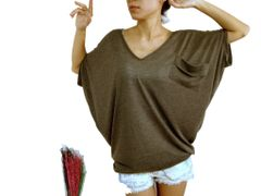 F04 Yes Sizzling Women Brown Dolman Oversized Tee