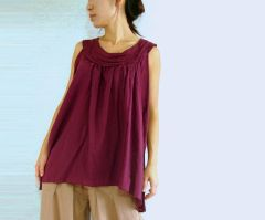E24 Sweet Layers Summer Women Burgundy Purple Sleeveless Blouse