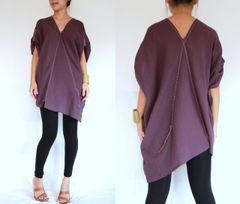 E16 Retro Karen Women Oversized Lavender Summer Tunic Bohemian Boho Top