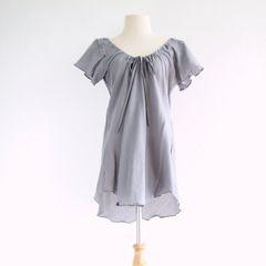 C09 Flow Gray Women A Shape Cotton Peasant Blouse Dolly Top