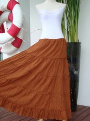 H24 Aerial Bohemian Pumkin Orange Women Long Cotton Tiered Maxi Skirt
