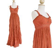 G17 Maui Women Orange Long Cotton A Shape Lace Maxi Dress Sundress