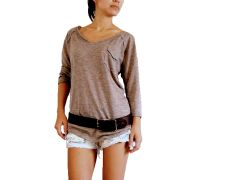 D05 Day Out Women Long Sleeve Brown Slim Fit T Shirt V Neck Raglan Tee