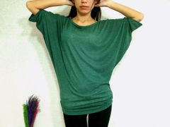 C23 Edgy Occasion Unique Forest Green Women Dolman Sleeves Top