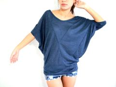 B19 Origami Loose Oversized Women Dolman Sleeves Top in Navy Blue