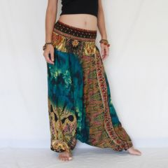 A22 The Gypsy Green Turquoise Tie Dye Low Cut Jumpsuit Women Harem Pants