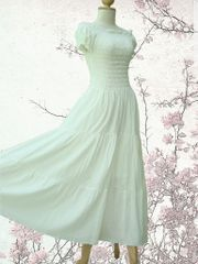A11 Sweet Summer I Off White Ivory Women Cotton Romantic Maxi Dress