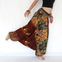 F17 The Gypsy Brown Tie Dye Low Cut Jumpsuit Women Harem Pants