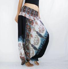 F21 Boho Black Low Cut Jumpsuit Women Yoga Elephant Harem Pants