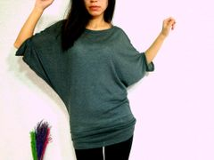 A08 Edgy Occasion Women Gray Dolman Oversized Tunic