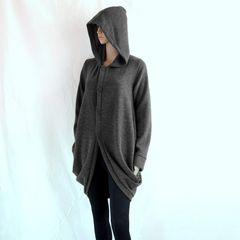 G01 Wanderer Women Gray Jacket Long Winter Oversized Hooded Coat Knee Length