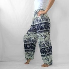 I11 Chang Yai Women Elephant Navy Blue Yoga Pants