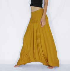 I12 Solid Mustard Low Cut Jumpsuit Women Yoga Harem Pants