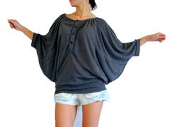 C06 Drapes Women Gray Batwing Top Wide Scoop Neck Oversized Blouse