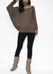 G04 Swift Women Jersey Oversized Top Dolman Long Sleeve Shirt in Brown