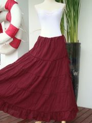 G20 Aerial Bohemian Women Dark Red Long Cotton Tiered Maxi Skirt
