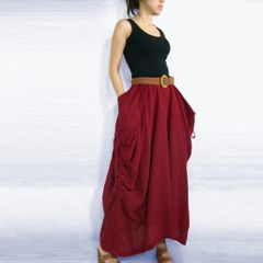 B01 The One and Only Dark Red Cotton Maxi Skirt