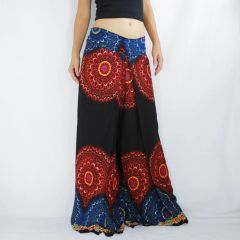 H08 Black Mandalas Women Comfy Wide Leg Pants