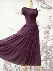 H03 Sweet Summer I Women Purple Lavender Cotton Peasant Maxi Dress