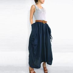 G06 The One and Only Women Navy Blue Maxi Skirt