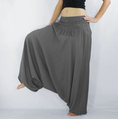 I03 Solid Gray Low Cut Jumpsuit Dress Women Yoga Harem Pants
