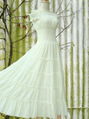 C14 Sweet Summer II Off White Ivory Women Cotton Romantic Maxi Dress