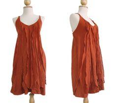 I08 Sea of Love Women Petit Ruffled Summer Spaghetti Strap Mini Dress in Orange