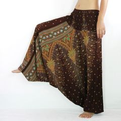 H15 Peacock Feathers Women Low Cut Jumpsuit Harem Pants in Brown