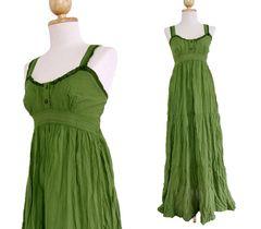 E17 Maui Green Women Long Cotton A Shape Lace Maxi Dress Sundress