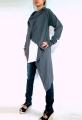 B02 Hug Me Women Soft Dark Gray Oversized Wrap Cardigan
