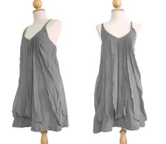 C24 Sea of Love Women Petit Spaghetti Strap Ruffled Summer Gray Mini Dress