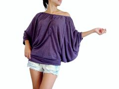 E01 Drapes Women Purple Batwing Top Wide Scoop Neck Oversized Blouse