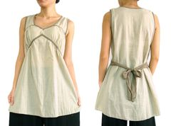 I12 Women Cream Beige Comfy Cotton Sleeveless Blouse with Bow Tie