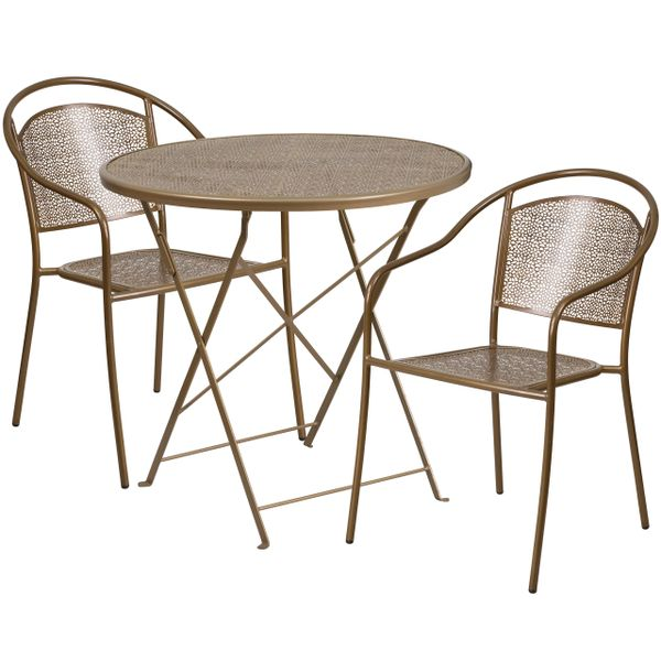 30 Inch Round Gold Folding Patio Set Kenwoodfurnishingscom Buy