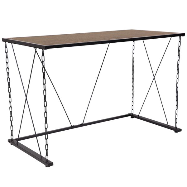 Iron Hills Collection Antique Wood Grain Finish Computer Desk with Chain  Accent Metal Frame - Antique Desk-Chain Frame KenwoodFurnishings.com Buy Furniture