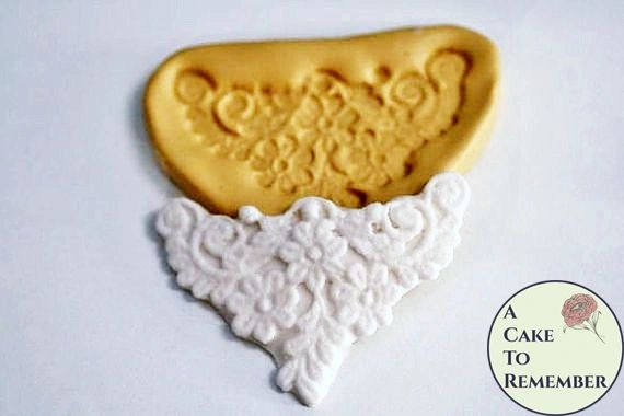 Flower and scrolls lace medallion silicone mold for cake decorating M065