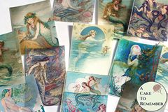 12 vintage mermaids wafer paper cookie decorating images