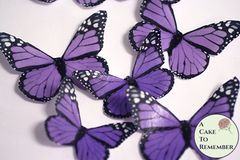 12 purple edible wafer paper monarch butterflies