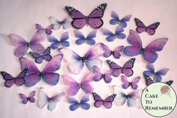 26 purple spring edible butterfly wedding cupcake toppers
